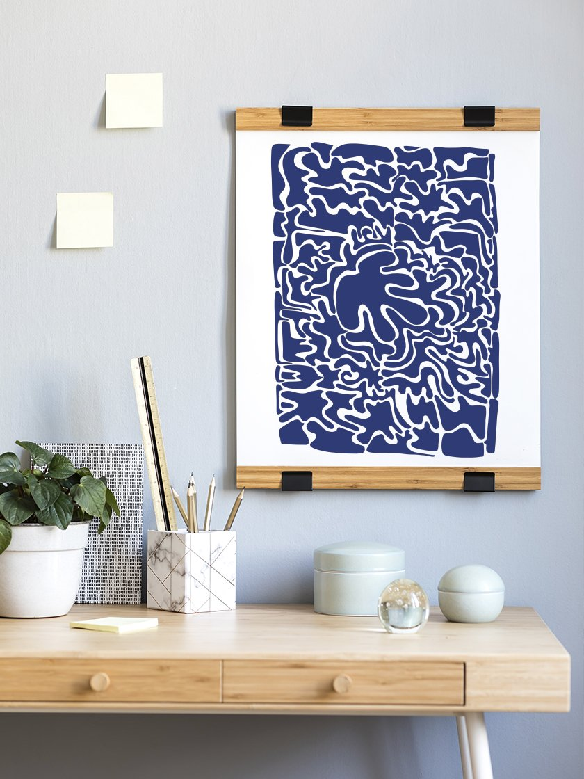 abstract-blue-puzzle-poster-in-interior