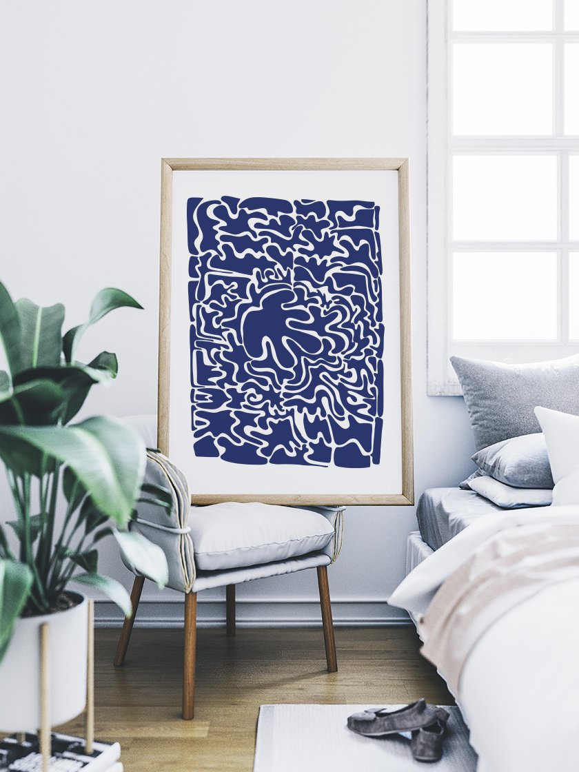 abstract-blue-puzzle-poster-in-interior-bedroom
