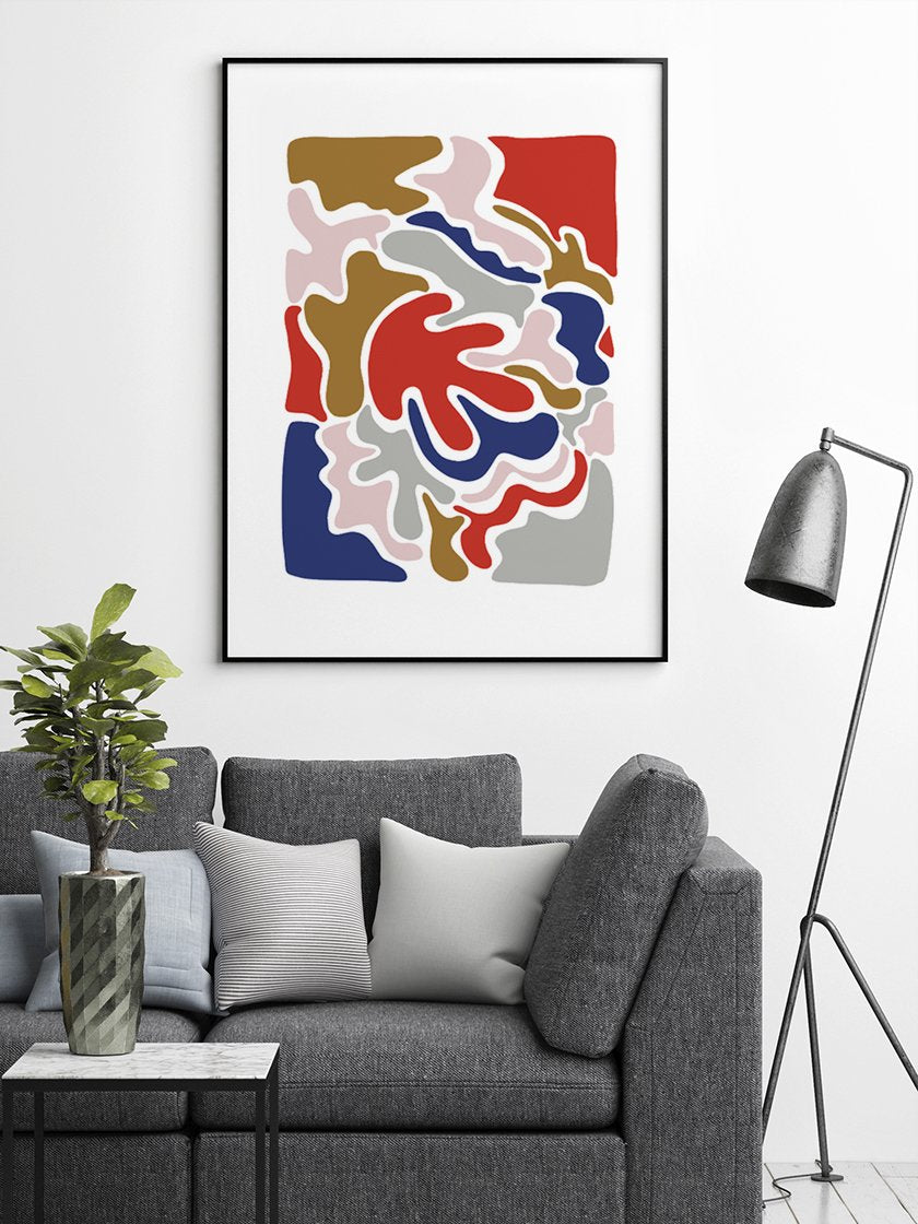 abstract-colourful-puzzle-poster-in-interior-living-room