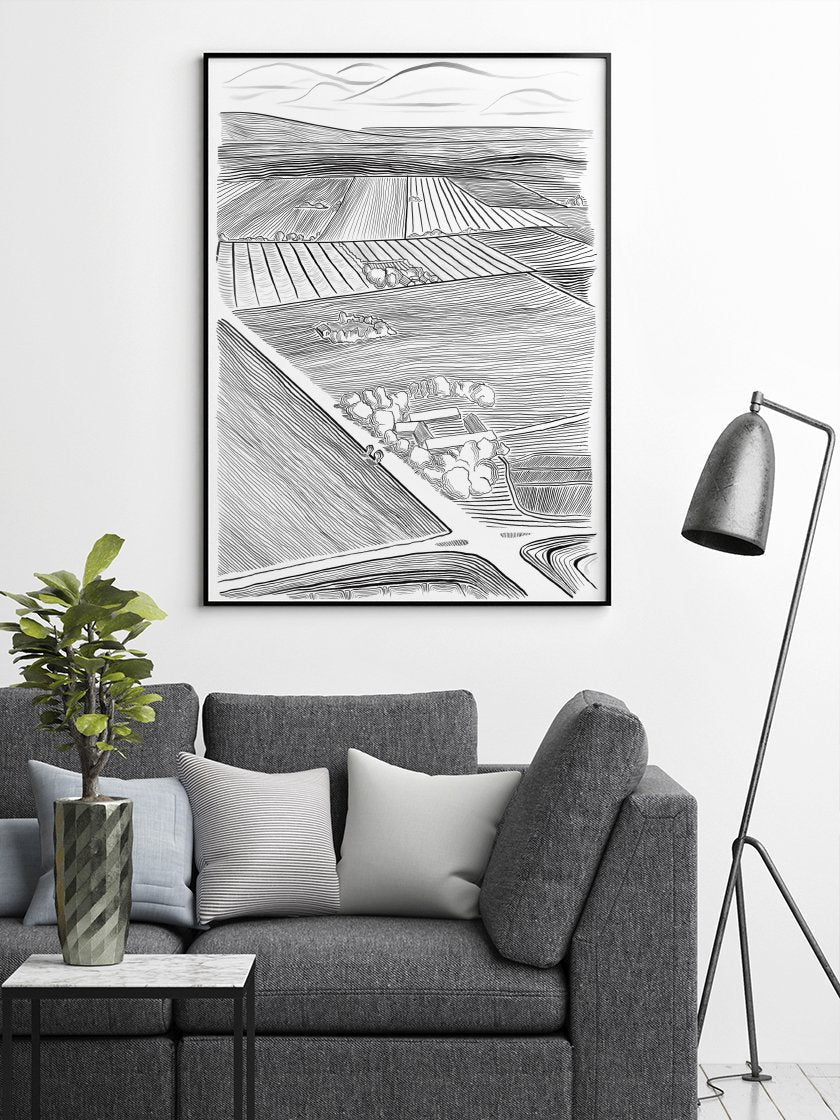 danish-field-poster-in-interior-living-room