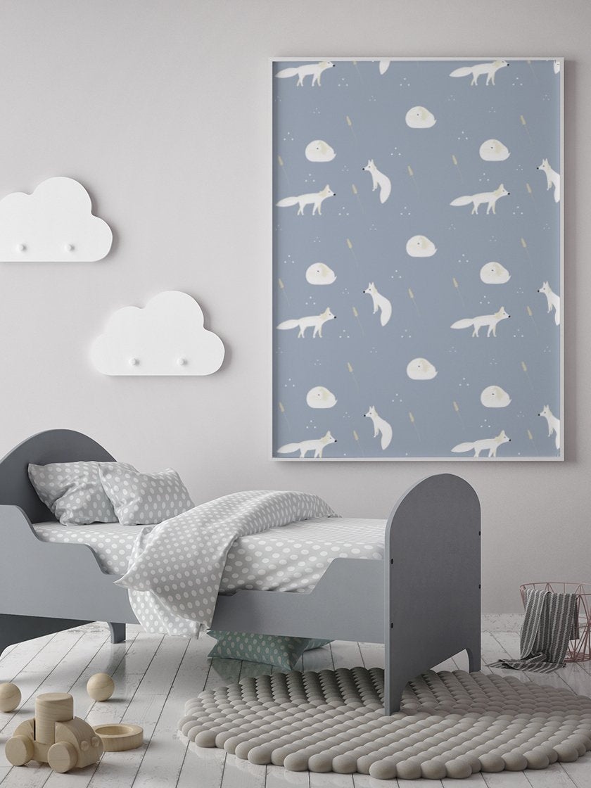 project-nord-white-foxes-minimalist-kids-poster-in-interior-nursery-room