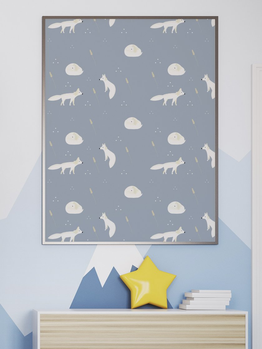 project-nord-white-foxes-minimalist-kids-poster-in-interior-kids-room
