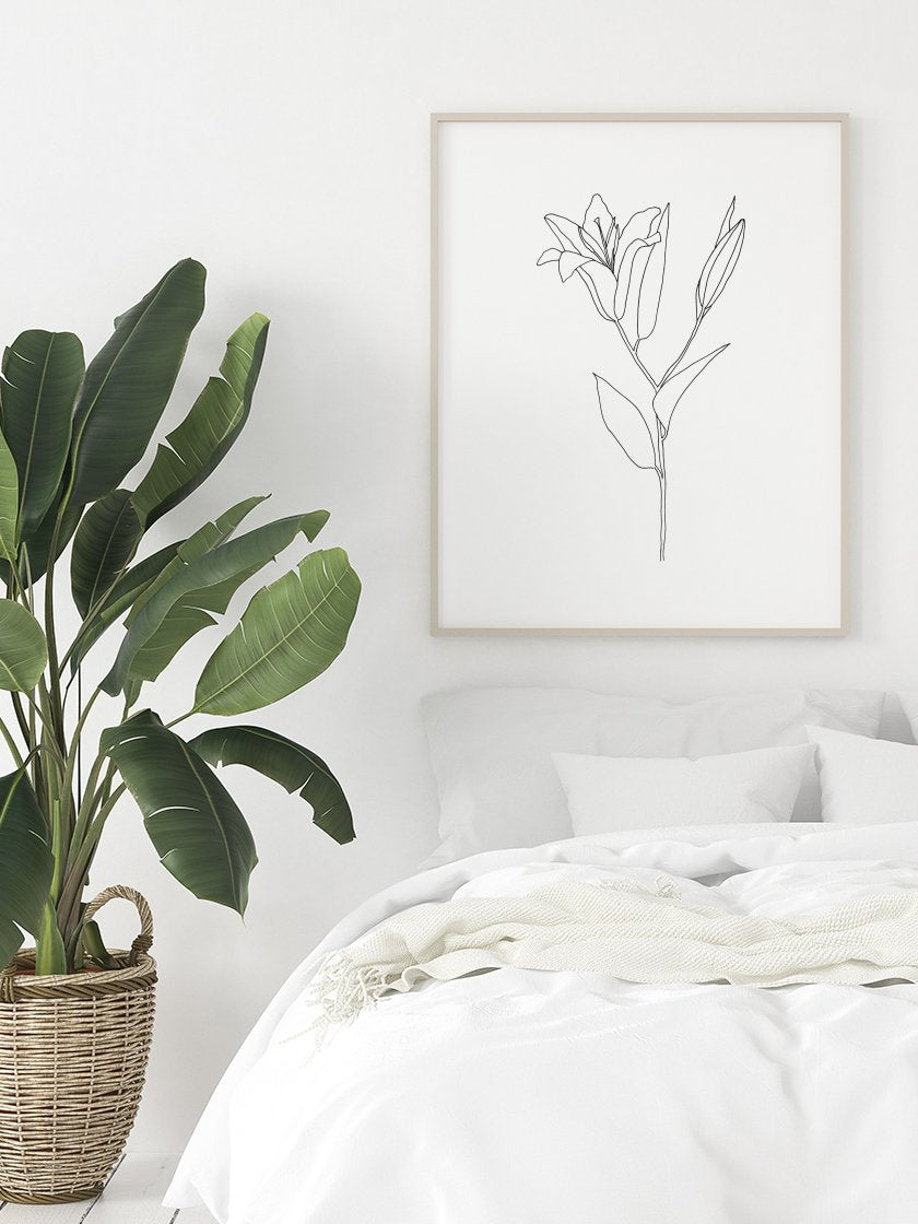 lily-line-art-flower-poster-in-interior-bedroom