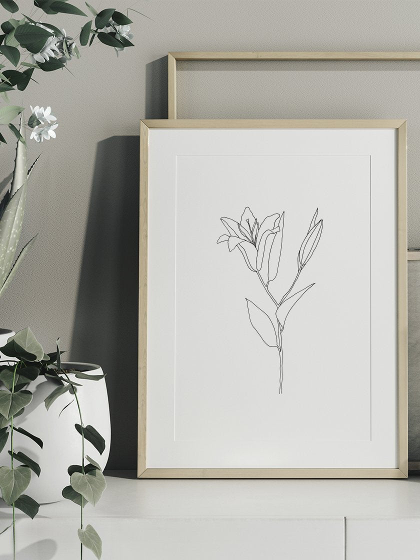 lily-line-art-flower-poster-in-interior