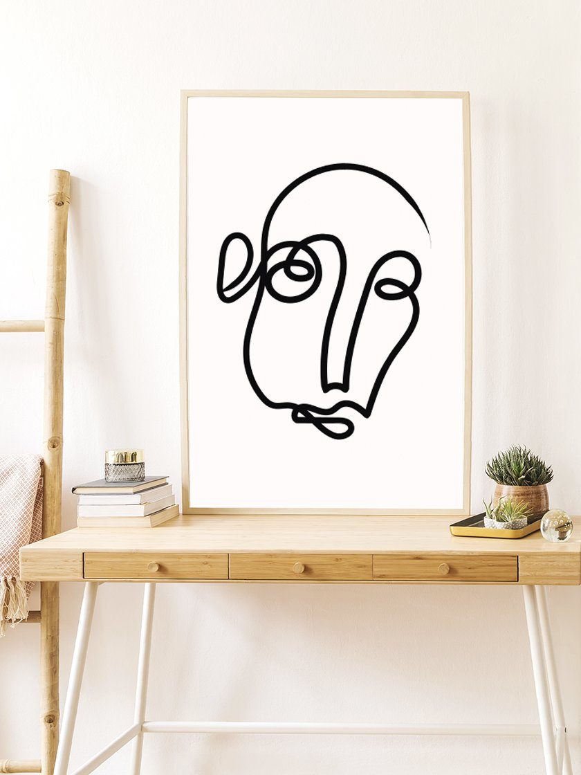 project-nord-one-line-art-face-poster-in-interior
