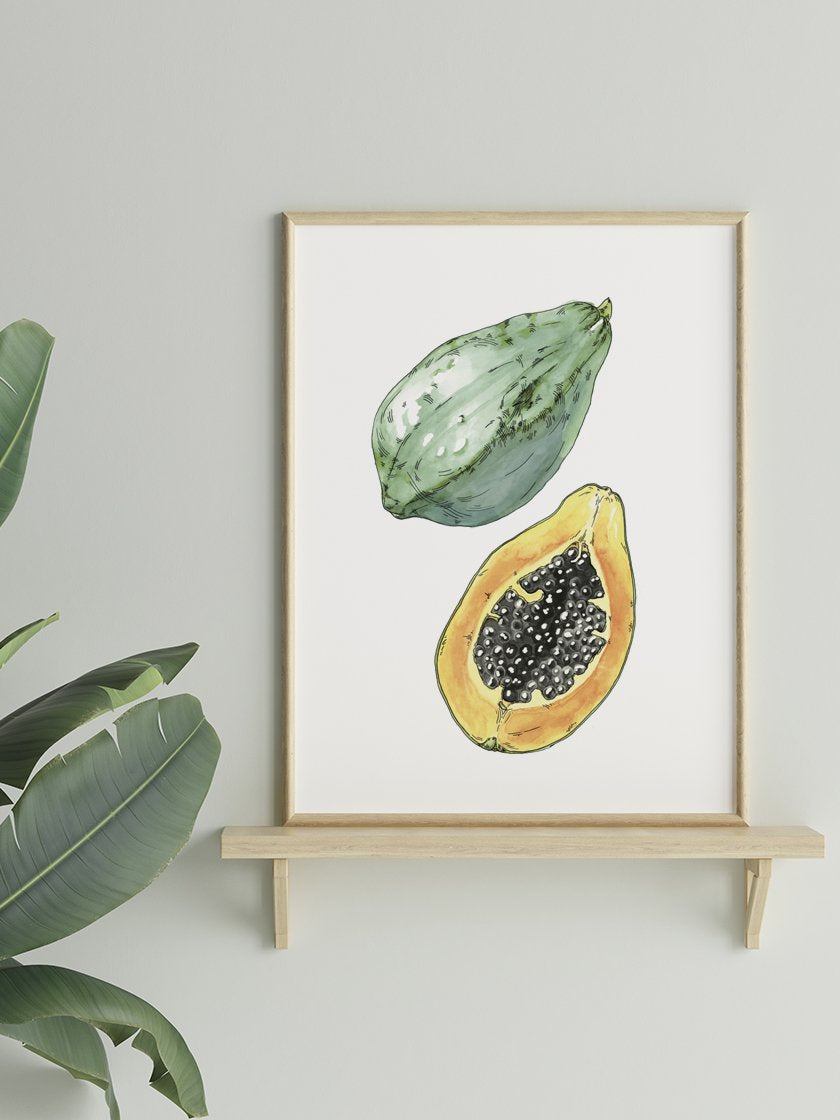 project-nord-hand-painted-vintage-botanical-papaya-poster-in-interior