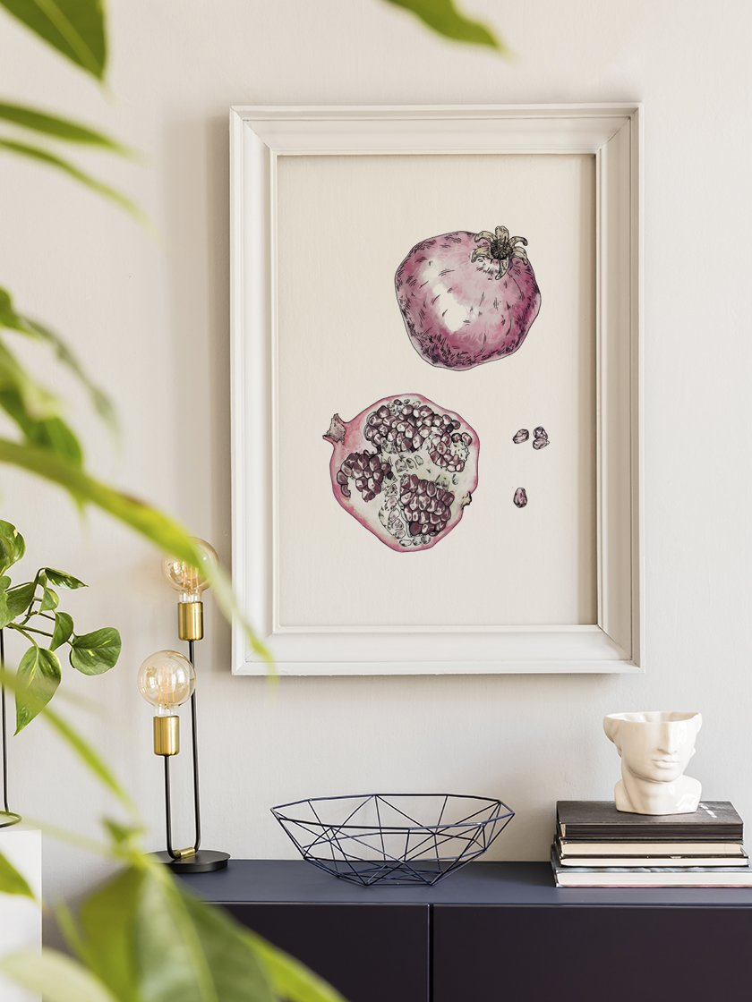 project-nord-vintage-botanical-pomegranate-poster-in-interior-hallway