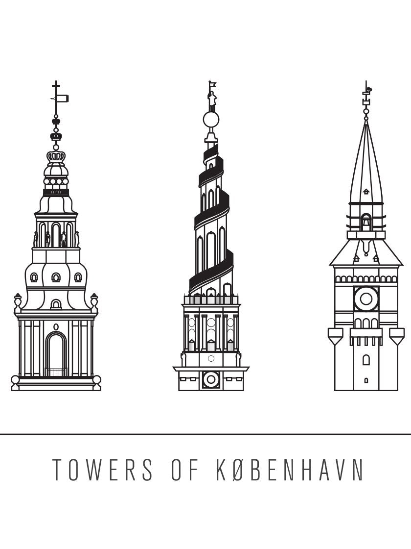 6 Towers Outline of Copenhagen - コペンハーゲン 6タワー