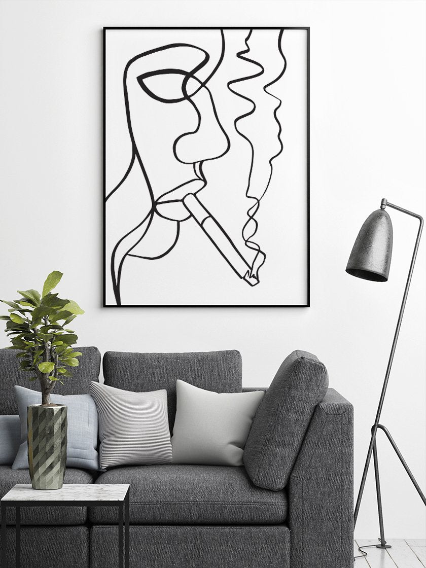 project-nord-smoking-woman-line-art-poster-in-interior-living-room