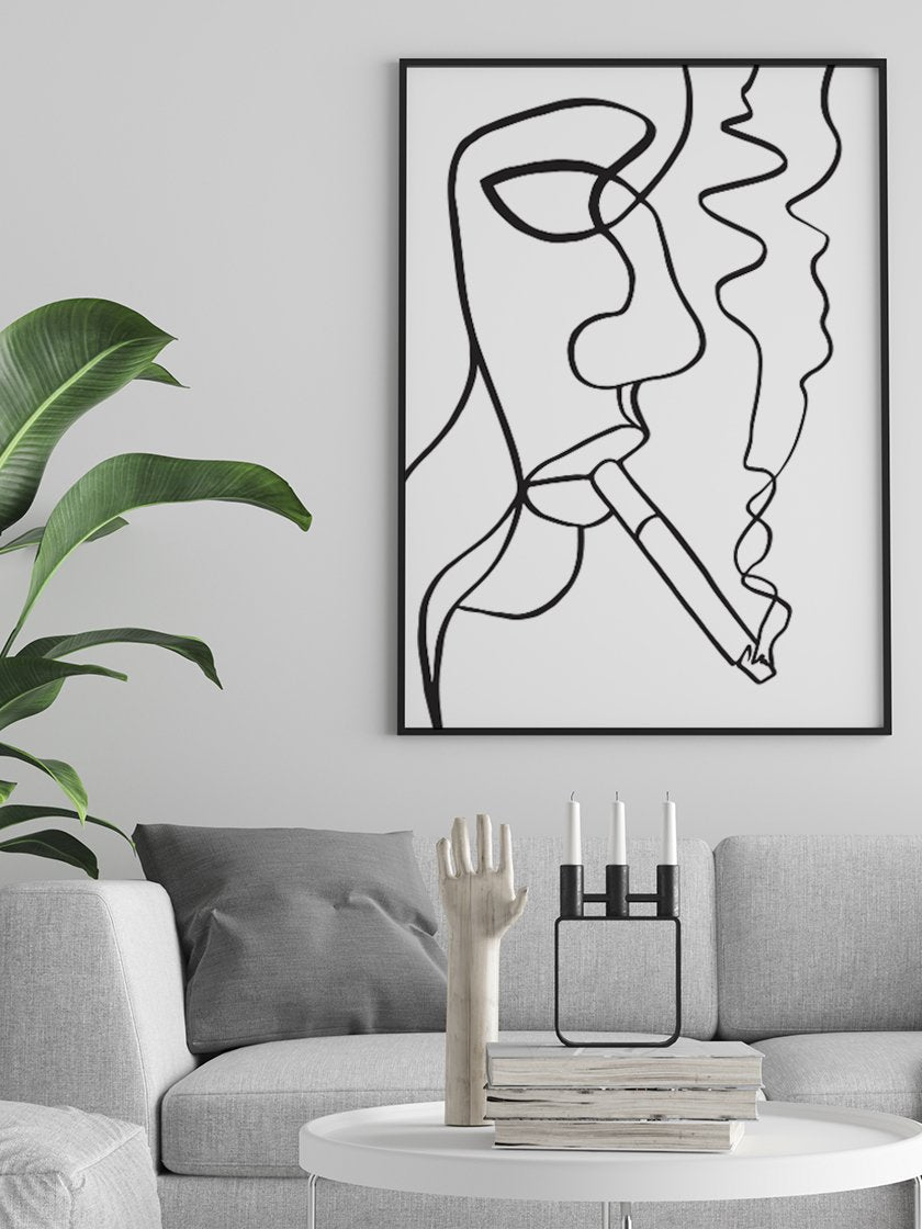 project-nord-smoking-woman-line-art-poster-in-interior