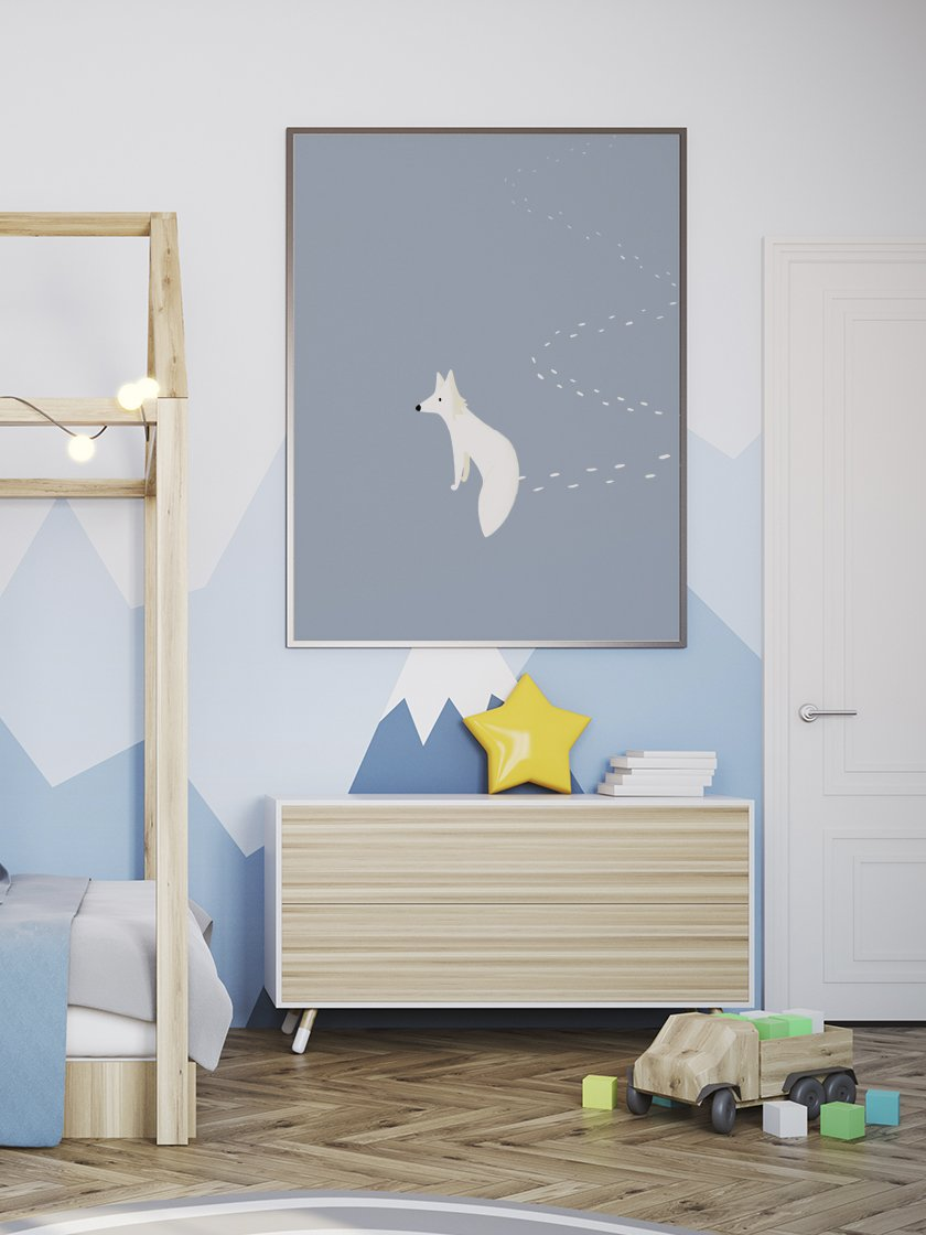 project-nord-the-walking-fox-kids-fox-poster-in-interior-kids-room