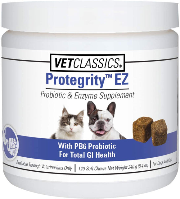 Vet Classics Protegrity EZ Probiotic Health Supplements for Dogs, Cats – Dog Digestive Support, Pet Gastrointestinal Health, Cat Stomach, Intestinal Balance – Pet Enzymes – Powder/Soft Chews