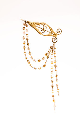 Classicism Pilastre Brooch with crystal chain - Ella zubrowska Jewellery