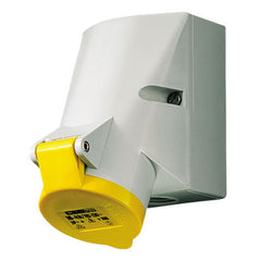 Mennekes 100 - Yellow 110V Top & Bottom Entry 16A 3 Pole IP44 Wall Mounted Socket