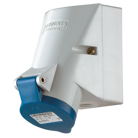 Mennekes 101 - Blue 230V Top & Bottom Entry 16A 3 Pole IP44 Wall Mounted Socket