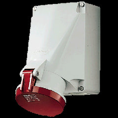 Mennekes 1145A - Red 400V SoftCONTACT Top & Bottom Entry 63A 5 Pole IP44 Wall Mounted Socket
