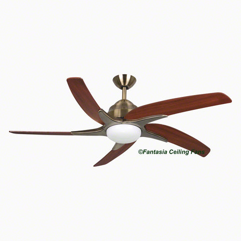 "Elite - 54"" Viper Plus Antique Brass Ceiling fan with Mahogany Blades"