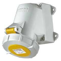 Mennekes 1201 - Yellow 110V Top & Bottom Entry 32A 3 Pole IP67 Wall Mounted Socket