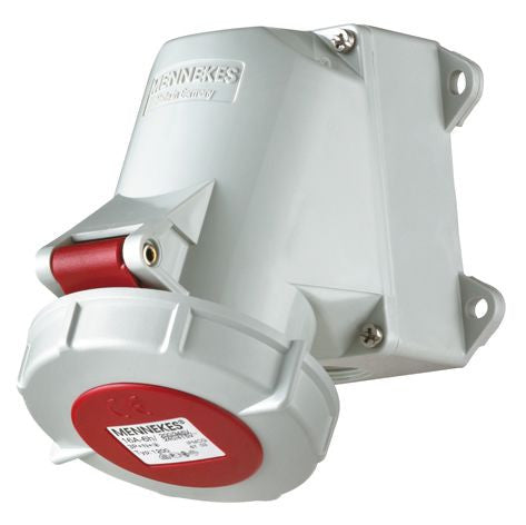 Mennekes 1206 - Red 400V Top & Bottom Entry 32A 4 Pole IP67 Wall Mounted Socket