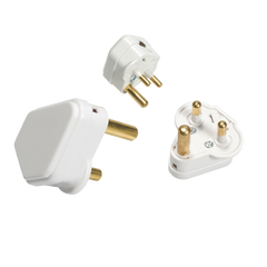 132A 2A Round Pin Plug Top - White
