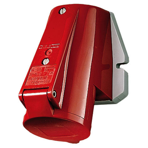 Mennekes 1373 - Red 400V Top Entry 32A 4 Pole IP44 Wall Mounted Socket