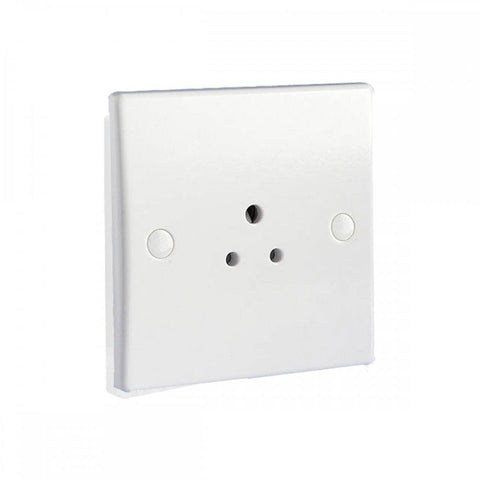 GU3080 Ultimate white moulded 1 gang 5A round pin unswitched socket outlet