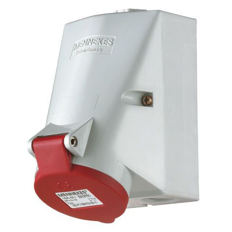 Mennekes 1425 - Red 400V Top & Bottom Entry 32A 4 Pole IP44 Wall Mounted Socket