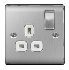 BG  Nexus Metal - NBS21W -  Brushed Steel 1 Gang 13A Switched Socket