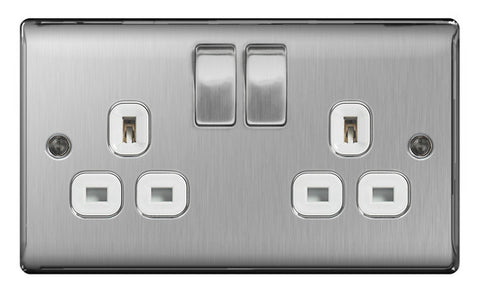 BG  Nexus Metal - NBS22W -  Brushed Steel 2 Gang 13A Switched Socket