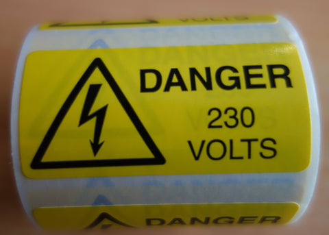 230V Danger Labels (250 Per Roll)
