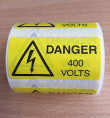 400V Danger Labels (250 Per Roll)
