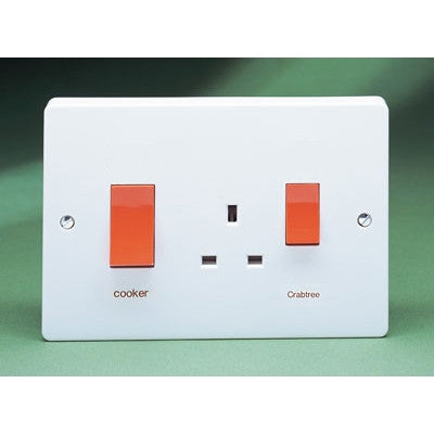 Crabtree Capital 4520/1 45A Oversize DP Cooker Control Unit with 13A Switch Socket Outlet