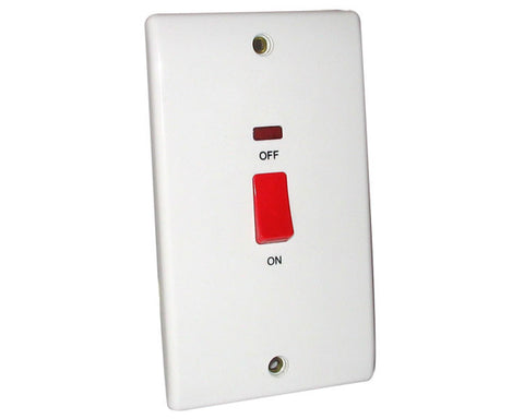 BG - 872 -  45 Amp Double Pole Switch With Neon, Large Plate White
