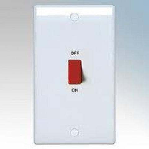BG - 873 -  45 Amp Double Pole Switch Large Plate White