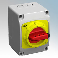 C&D SDP403 40A 3-Pole Switch-Disconnector (O-I) with Moulded Plastic IP65 Enclosure