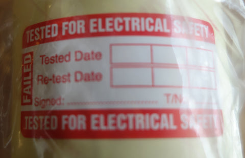 PAT Testing - Fail Appliance Labels 100 Per Roll