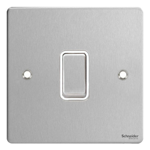 GU1212WSS Ultimate flat plate stainless steel white insert 1 gang 2 way 10AX plate switch
