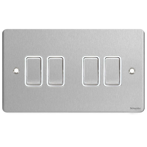 GU1242WSS Ultimate flat plate stainless steel white insert 4 gang 2 way 16AX plate switch
