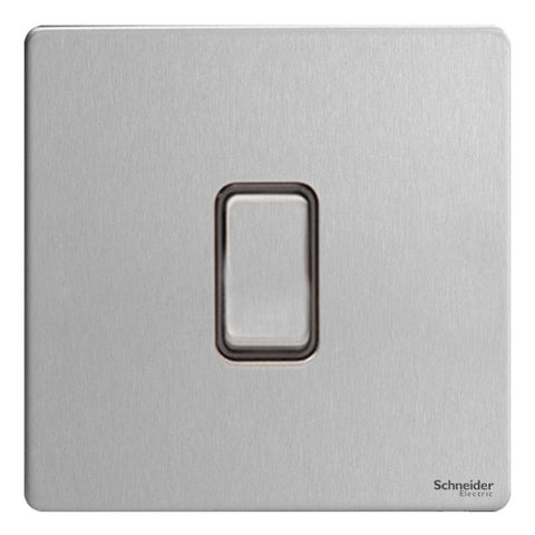 GU1412BSS Ultimate screwless flat plate stainless steel black insert 1 gang 2 way 16AX plate switch