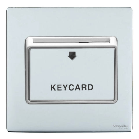GU1412KWPC Ultimate screwless flat plate polished chrome white insert 32A keycard switch