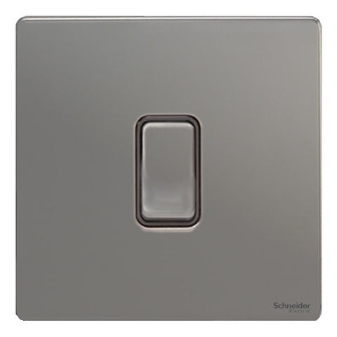 GU1412RBBN Ultimate screwless flat plate black nickel black insert 1 gang 2 way 10A retractive plate switch