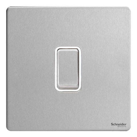 GU1412RWSS Ultimate screwless flat plate stainless steel white insert 1 gang 2 way 10A retractive plate switch
