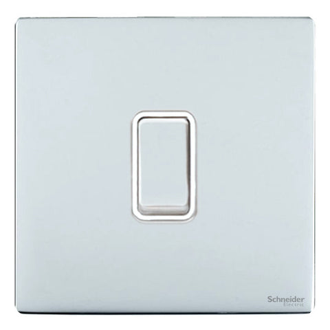 GU1412WPC Ultimate screwless flat plate polished chrome white insert 1 gang 2 way 16AX plate switch