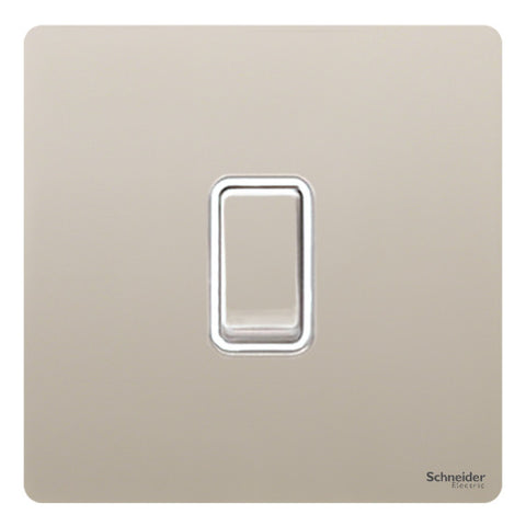 GU1412WPN Ultimate screwless flat plate pearl nickel white insert 1 gang 2 way 16AX plate switch