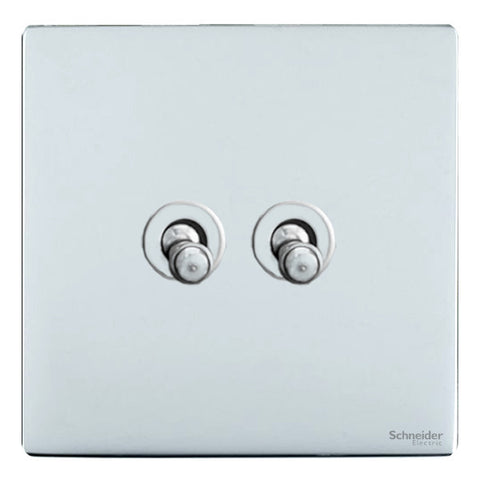 GU1422TPC Ultimate screwless flat plate polished chrome 2 gang 2 way 10AX toggle switch