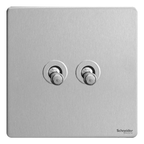 GU1422TSS Ultimate screwless flat plate stainless steel 2 gang 2 way 10AX toggle switch