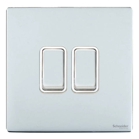 GU1422WPC Ultimate screwless flat plate polished chrome white insert 2 gang 2 way 16AX plate switch