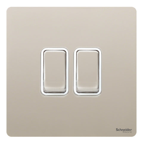 GU1422WPN Ultimate screwless flat plate pearl nickel white insert 2 gang 2 way 16AX plate switch