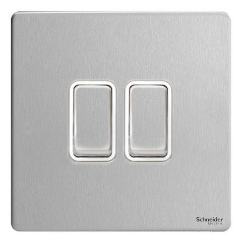 GU1422WSS Ultimate screwless flat plate stainless steel white insert 2 gang 2 way 16AX plate switch