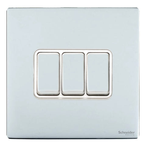 GU1432WPC Ultimate screwless flat plate polished chrome white insert 3 gang 2 way 16AX plate switch